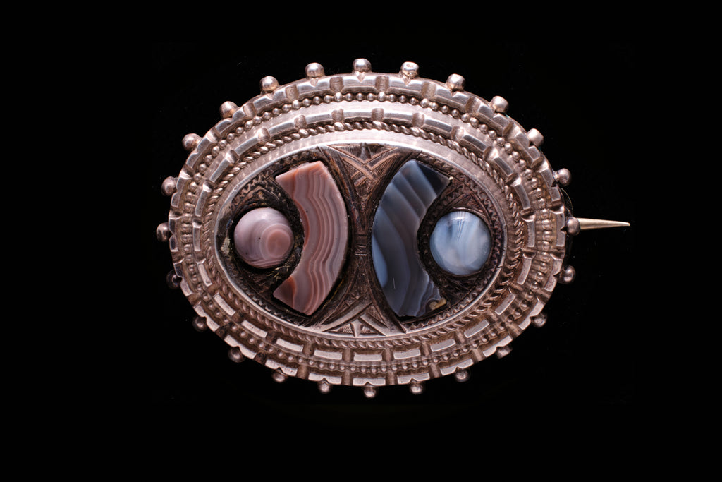 Victorian Sterling Silver and Agate Brooch.