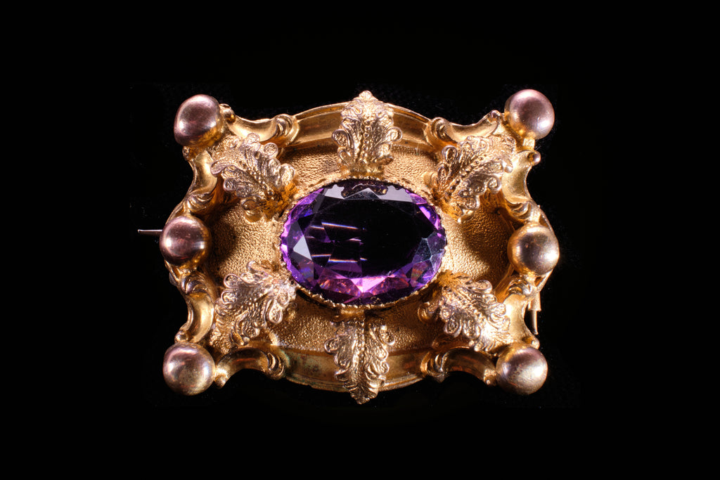 Victorian Pinchbeck and Amethyst Brooch.