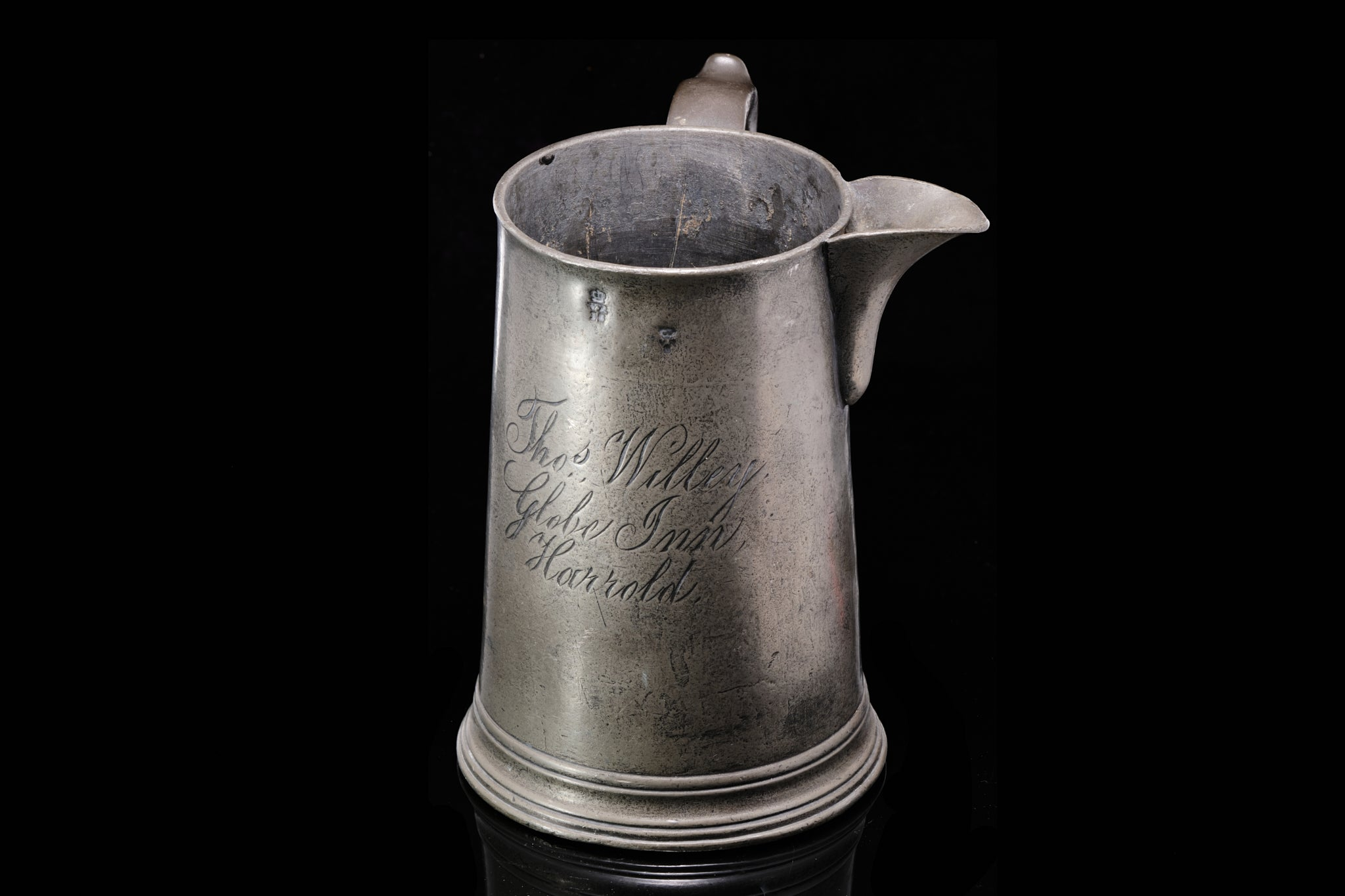 Early Victorian Pewter Tankard. SOLD.