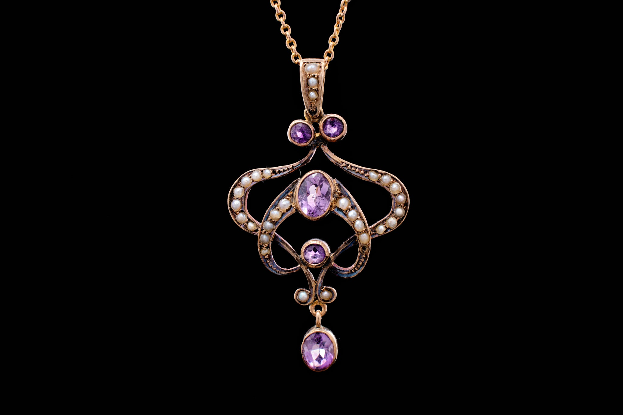 Victorian Gold, Amethyst and Seed Pearl Lavalier.   SOLD