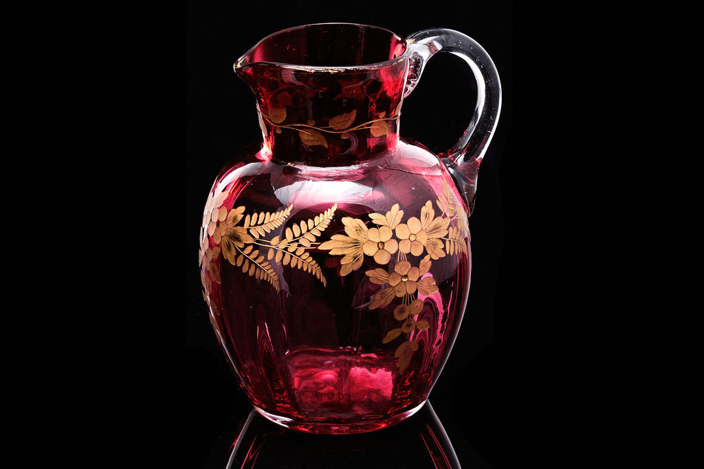 Victorian Ruby Glass Jug with Gold Decoration.