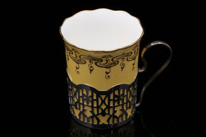 Coalport Demi-Tasse Coffee Cups in Sterling Silver Holders.