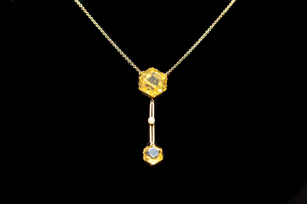 9ct Gold, Citrine and Pearl Edwardian Pendant.