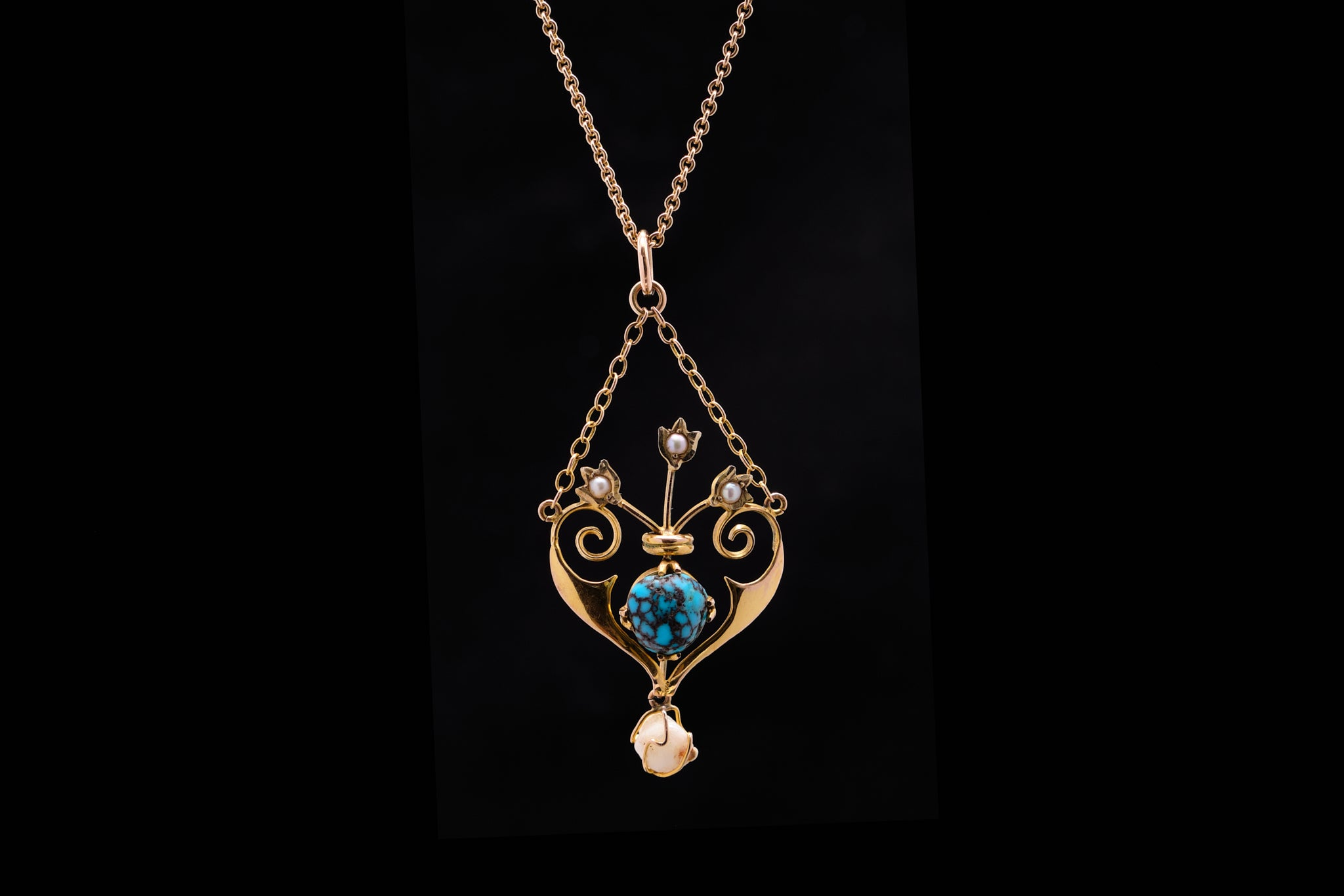 Edwardian Gold, Seed Pearl and Torquoise Pendant.