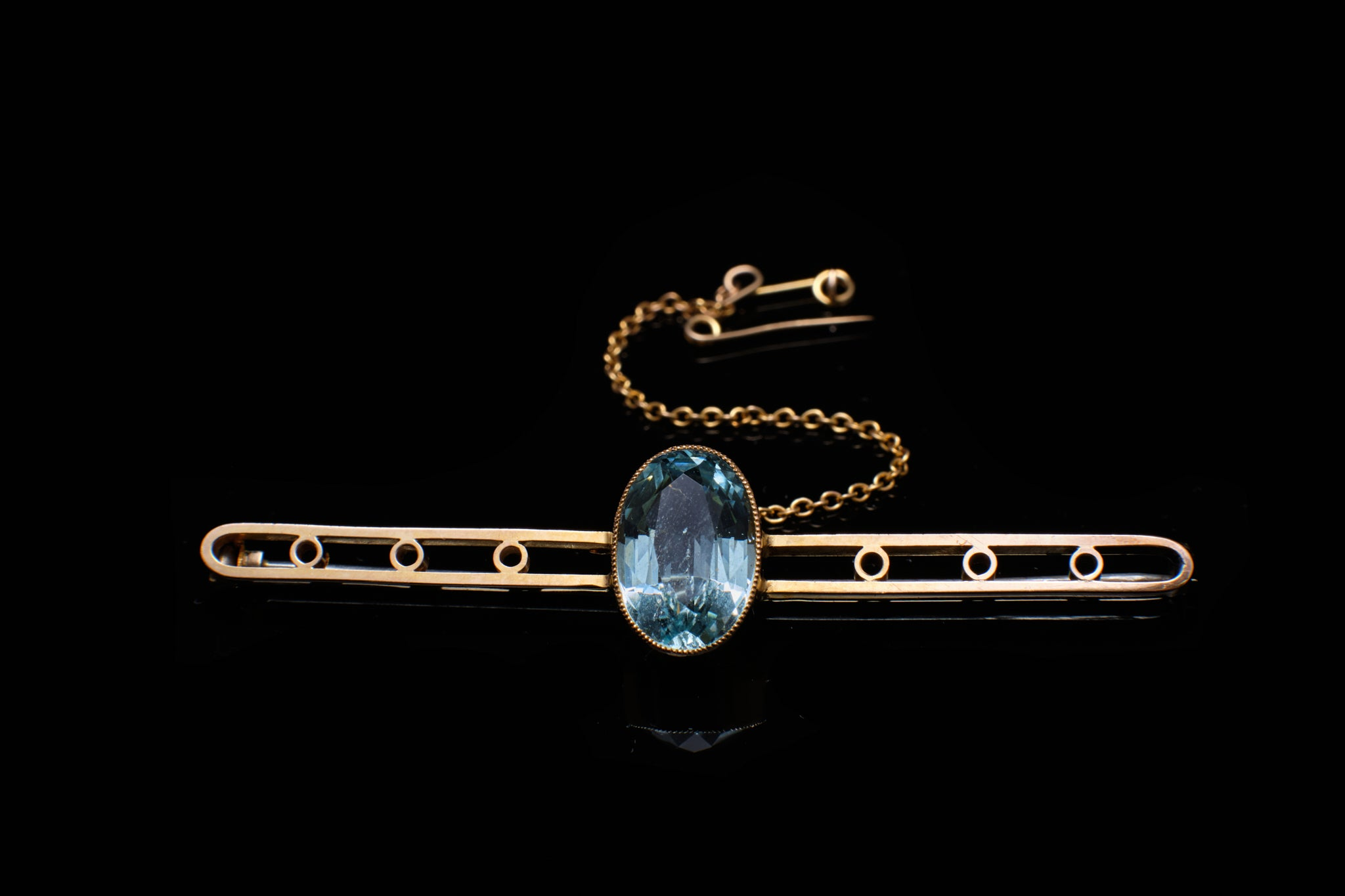 Edwardian Gold with Aquamarine Brooch.    SOLD