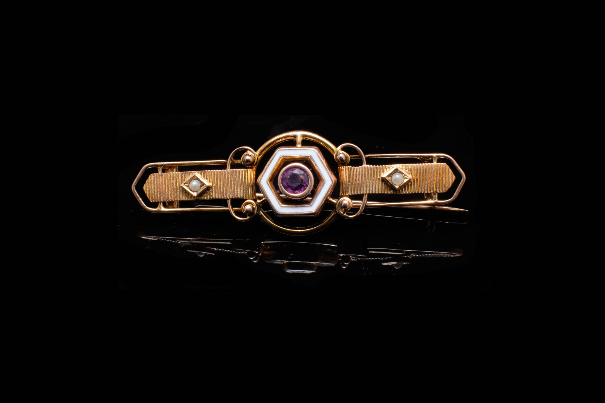 Edwardian Gold, Enamel and Amethyst Bar Brooch.