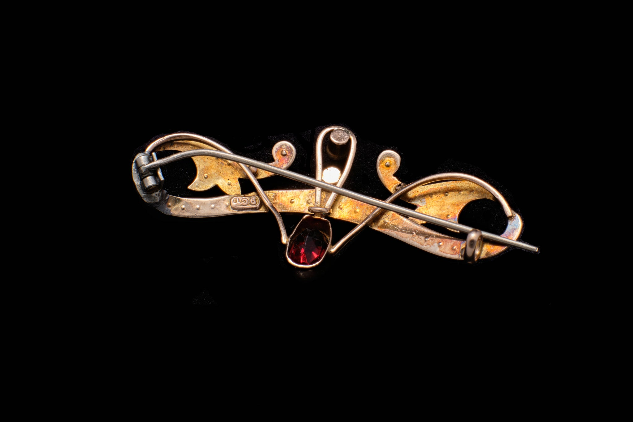 Victorian Gold, Ruby and Seed Pearl Bar Brooch.