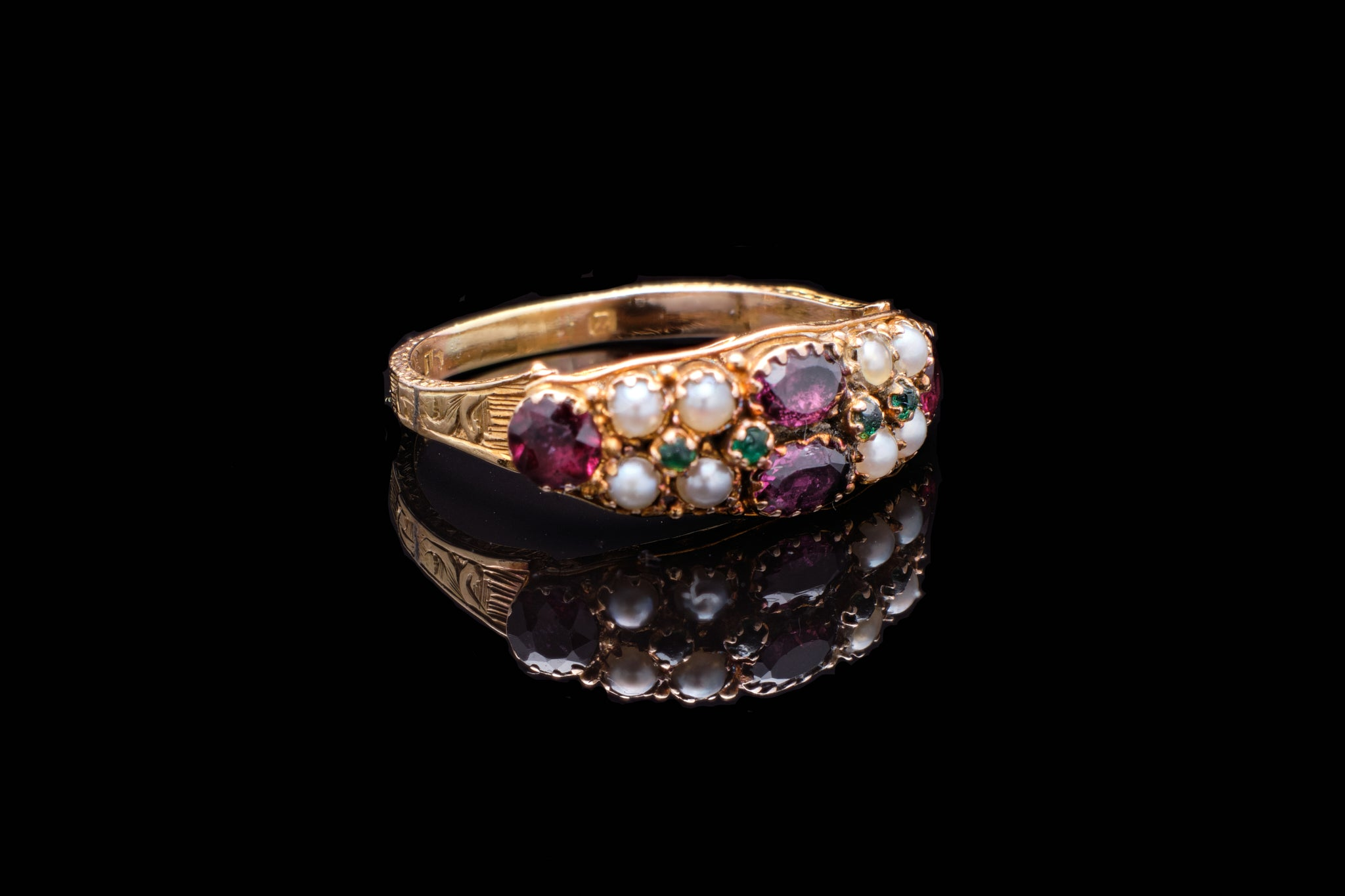 Early Victorian 15ct Gold Ring with Almadine Garnets, Emeralds and Pearls  SOLD.