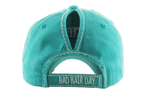 """Bad hair day"""" distressed messy bun ponytail hat – Frosty Hollow ... b5705a1ec3d"""