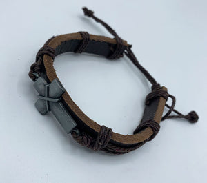 Leather Cuff Cross Bracelet