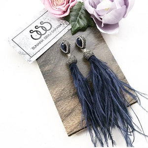 BLUE STONE FEATHER EARRINGS
