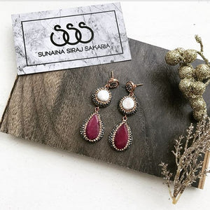PEARL & RUBY DROP EARRINGS