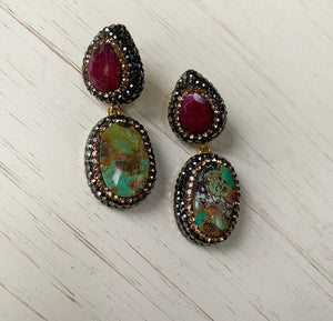 RUBY & TURQUOISE DROP EARRINGS