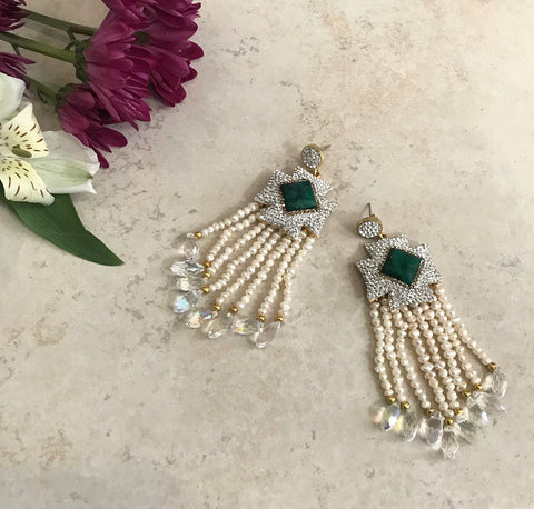 CRYSTAL TASSEL EARRINGS IN EMERALD