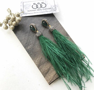 GREEN STONE FEATHER EARRINGS