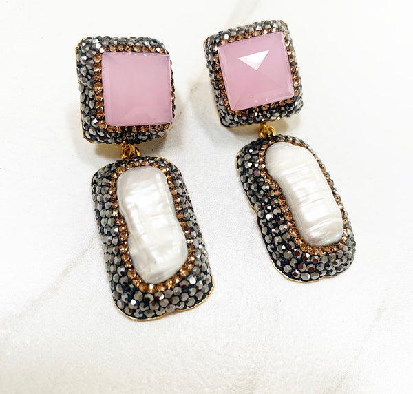 Pink Quartz Pearl Drop Earring