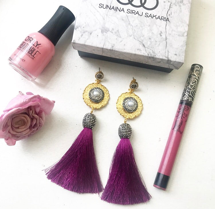 PURPLE SILK TASSEL EARRING