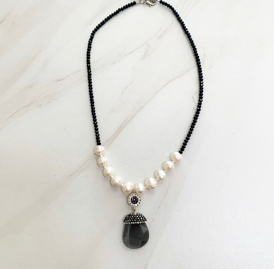 GREY BEADED NECKLACE
