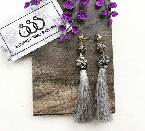 GREY SILK TASSEL EARRINGS
