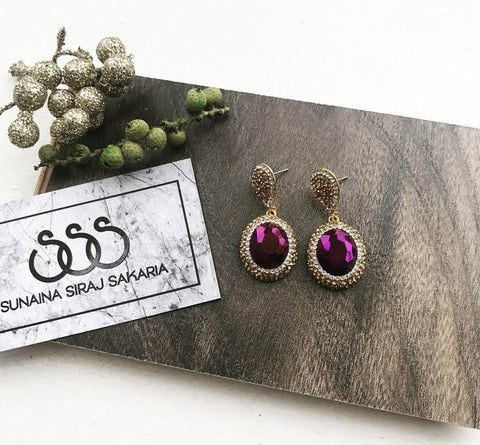 PURPLE HEMATITE DROP EARRINGS