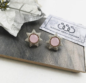 PINK CATS EYE STAR STUDS