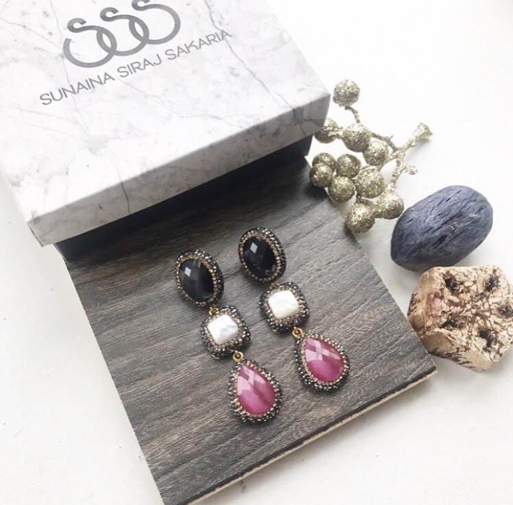 TRIPLE DROP EARRINGS IN PINK, BLACK & PEARL