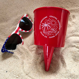 BEach Awesome! - Cup Holder - 2 Pack (Red & Blue)