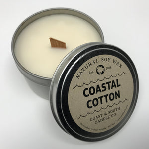 Coastal Cotton - Wood Wick Soy Wax Candle