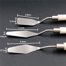 Load image into Gallery viewer, Set of 3 Stainless Steel Palette Knives