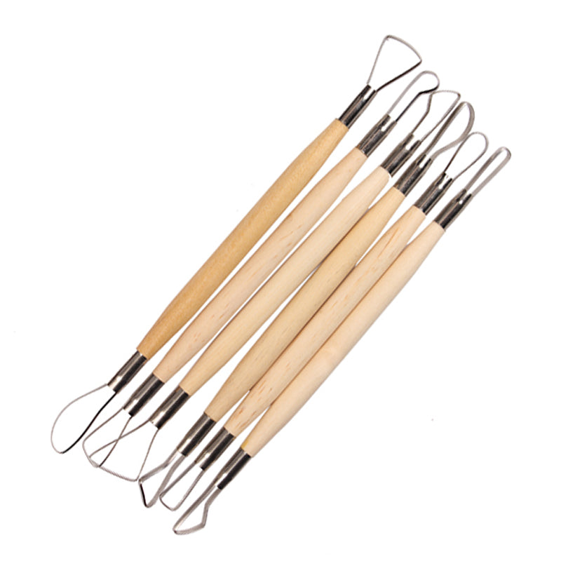 Set of 6 Wood Loop Tools with Stainless Steel Flat Wire