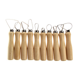 Set of 10 Wood Loop Tools with Stainless Steel Flat Wire