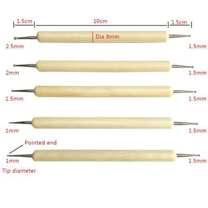Set of 5 Ball Stylus Pottery Sculpture Tools