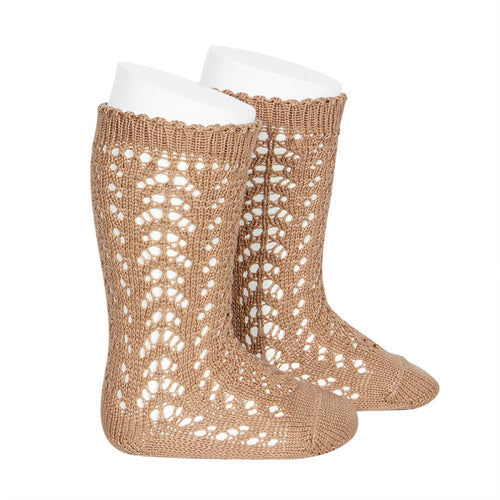 Openwork Knee High Socks - Camel