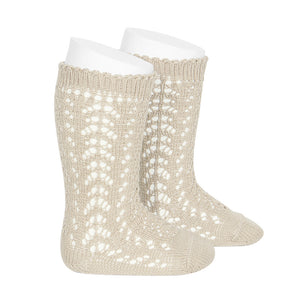 Openwork Knee High Socks - Linen