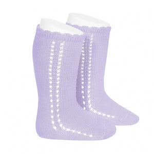 Perle Side Openwork Knee High Socks - Lavender