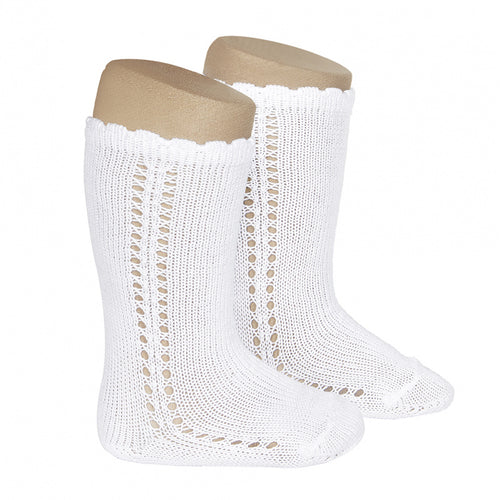 Perle Side Openwork Knee Socks - White