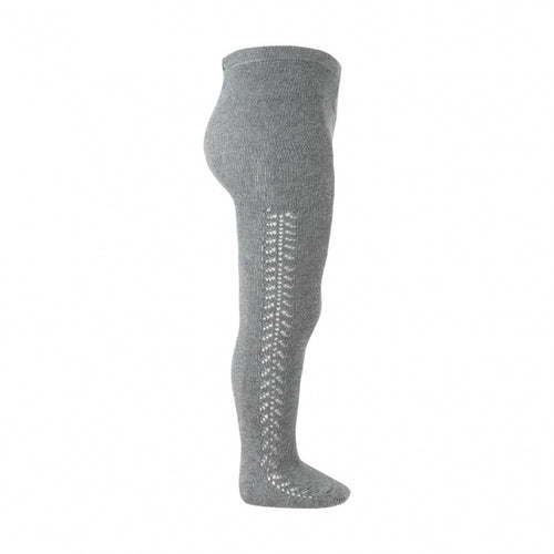 Side Openwork Warm Crochet Tights - Light Grey