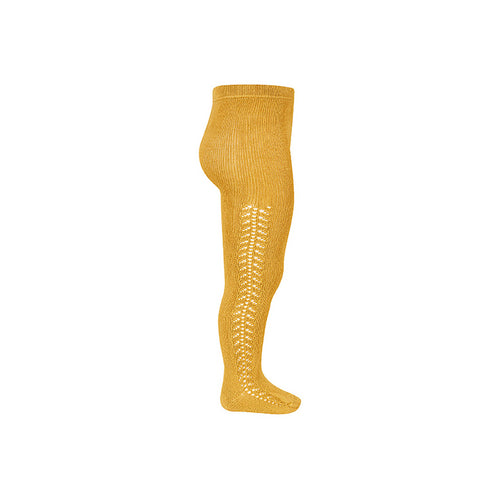 Side Openwork Warm Crochet Tights - Mustard