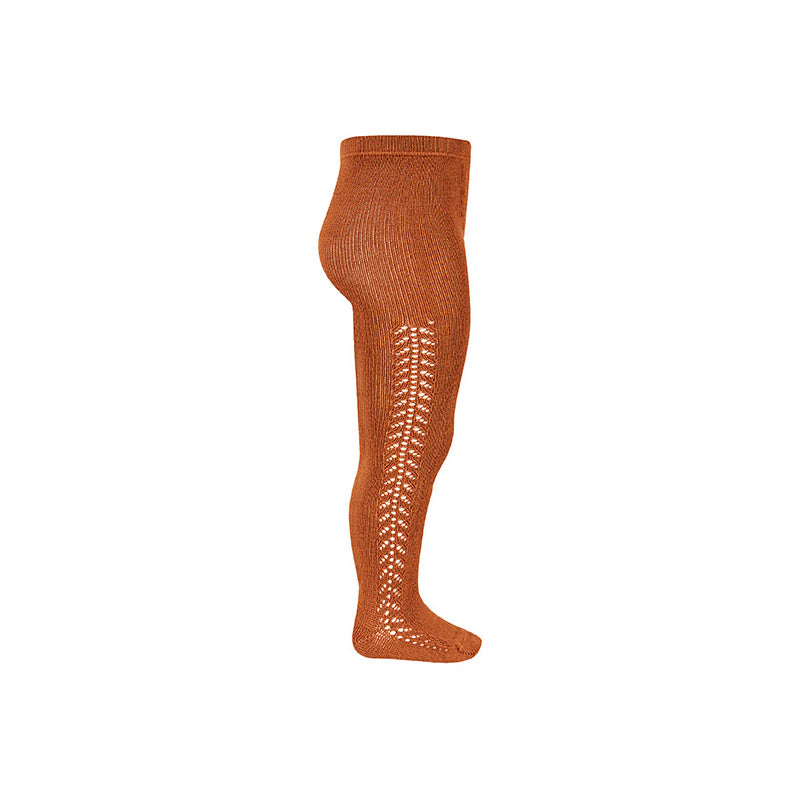 Side Openwork Warm Crochet Tights - Rust