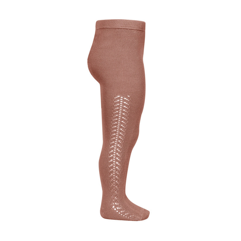 Side Openwork Warm Crochet Tights - Terracotta