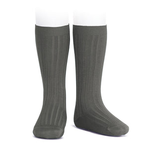 Wide Ribbed Knee High Socks - Asphalt