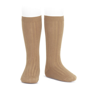 Wide Ribbed Knee High Socks - Camel