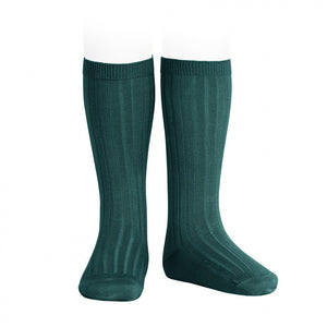Wide Ribbed Knee High Socks - Petrol