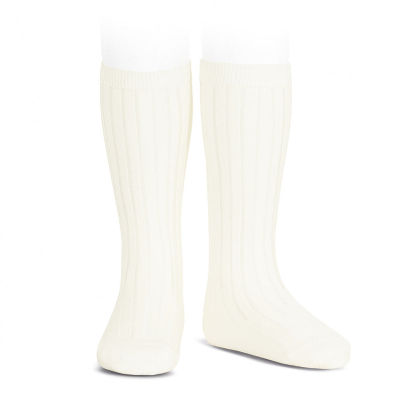 Wide Ribbed Knee High Socks - Champagne