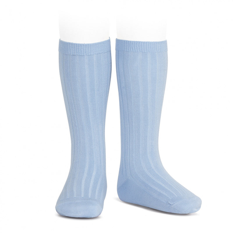 Wide Ribbed Knee High Socks - Baby Blue