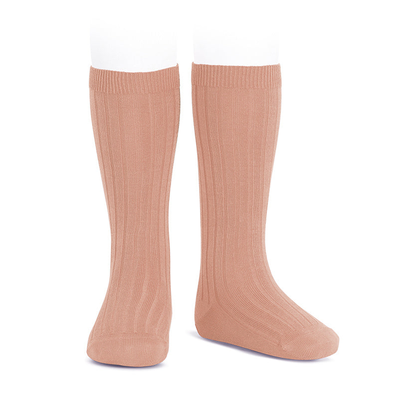 Wide Ribbed Knee High Socks - Peony