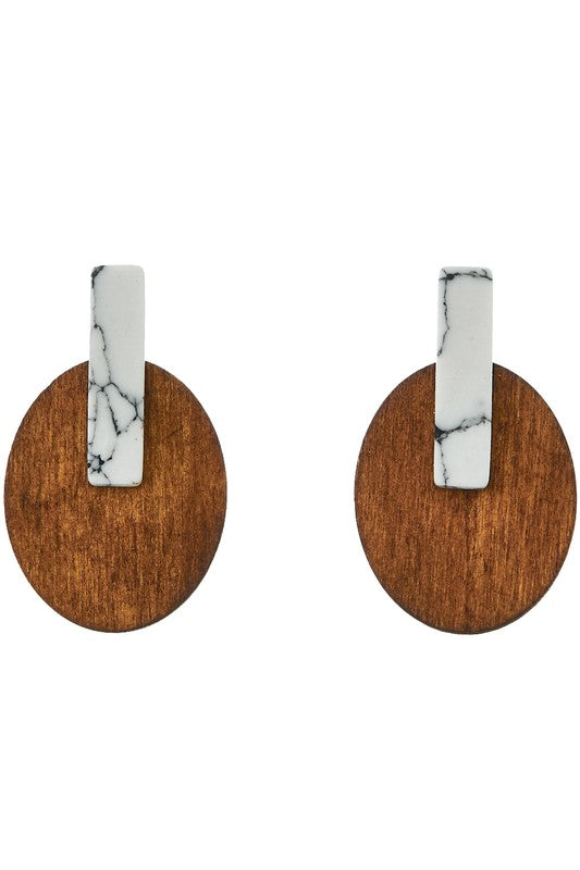 Oval and Wood Stone Stud Earrings