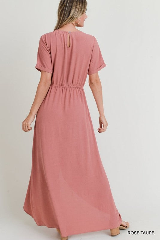 Rose Taupe Wrap Dress