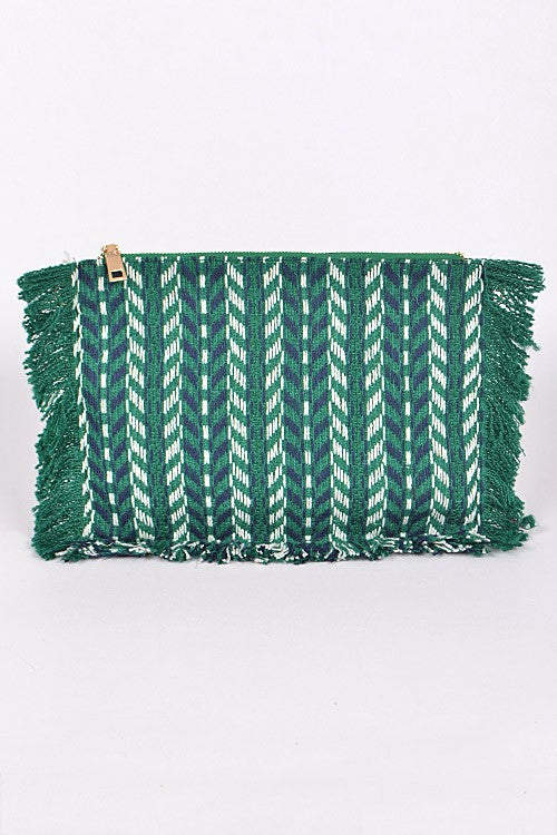 Fringed Aztec Clutch