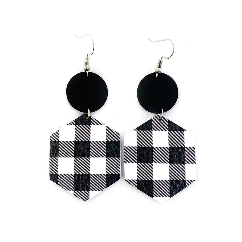 Black and White Buffalo Plaid Leather Earrings